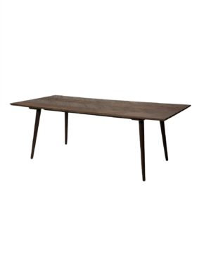 Pusdienu galds. Brūns koka galds, melnas koka kājas
